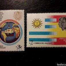 Selos: URUGUAY YVERT 1123/4 SERIE COMPLETA NUEVA *** 1983. VISITA REYES DE ESPAÑA. CARABELAS. BANDERAS.. Lote 232623247