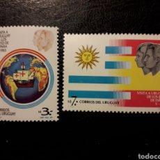 Selos: URUGUAY YVERT 1123/4 SERIE COMPLETA NUEVA *** 1983. VISITA REYES DE ESPAÑA. CARABELAS. BANDERAS.. Lote 232623370