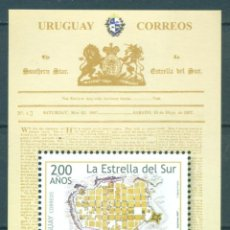 "Sellos: URUGUAY 2007 200TH ANNIVERSARY OF THE NEWSPAPER ""SOUTH STAR"" MNH - NEWSPAPER. Lote 241344665"