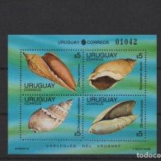 Sellos: HOJA BLOQUE NUEVA DE URUGUAY DE 1995. TEMA CONCHAS. Lote 243370645