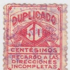 Sellos: URUGUAY SELLO TELEGRAFOS 50 CENTESIMOS DUPLICADO RECARGO A LAS DIRECCIONES INCOMPLETAS. Lote 267513549