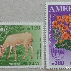 Sellos: 1990. URUGUAY. TEMA AMÉRICA. FAUNA Y FLORA. CIERVO, IBIRA-PITA. SERIE COMPLETA. NUEVO.. Lote 277141778