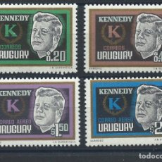Sellos: URUGUAY N°725/26 + PA 255/56* (MH) 1965 - JOHN F. KENNEDY. Lote 289536508