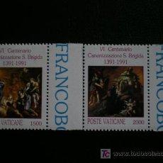 Sellos: VATICANO 1991 IVERT 906/7 *** 600 ANIVERSARIO CANONIZACIÓN DE SANTA BRIGIDA. Lote 20027532