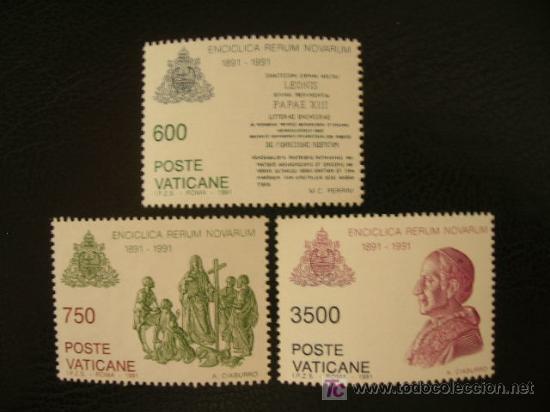 VATICANO 1991 IVERT 903/5 *** CENTENARIO ENCICLICA RERUN NOVARUM - DERECHO DE LOS TRABAJADORES (Sellos - Extranjero - Europa - Vaticano)