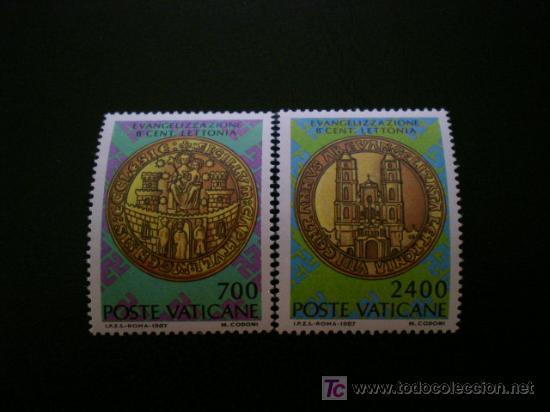 VATICANO 1987 IVERT 809/10 *** 800 ANIVERSARIO DE LA EVANGELIZACIÓN DE LETONIA (Sellos - Extranjero - Europa - Vaticano)