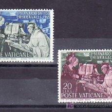 Sellos: VATICANO 189/90 CON CHARNELA, VIII CENTº MUERTE SAN BERNADO, ABAD DE CLAIRVAUX, APARICION VIRGEN AL. Lote 11858568