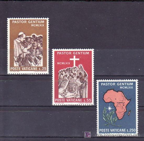 VATICANO 491/3 SIN CHARNELA, VIAJE DEL PAPA PABLO VI A UGANDA (Sellos - Extranjero - Europa - Vaticano)
