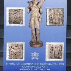 Sellos: VATICANO HB 18 SIN CHARNELA, DIA DEL ARTE, ITALIA 98, EXPOSICION FILATELICA INTERNACIONAL DE MILAN. Lote 10119278