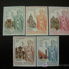 Sellos: VATICANO 1991 IVERT 914/18 *** VIAJES DEL PAPA JUAN PABLO II POR EL MUNDO. Lote 21860851