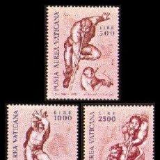 Sellos: VATICANO 1976 - EL JUICIO FINAL DE MIGUEL ANGEL - YVERT AV 60/62**. Lote 25261479