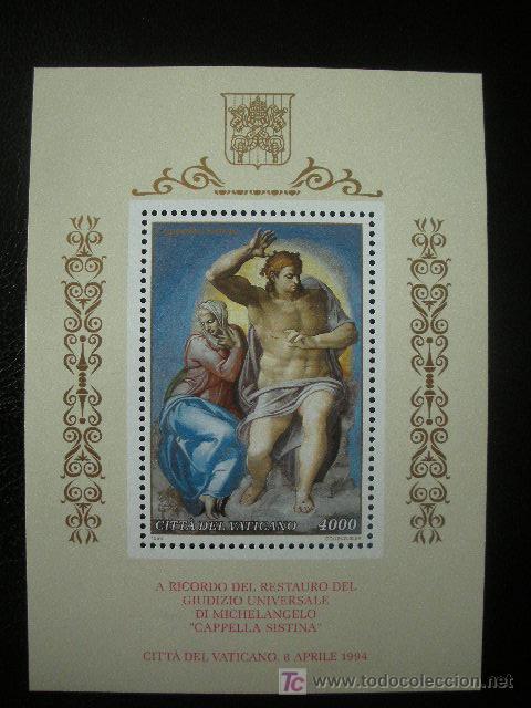 VATICANO 1994 HB IVERT 14 *** FRESCOS DE MIGUEL ANGEL DE LA CAOILLA SIXTINA - PINTURA (Sellos - Extranjero - Europa - Vaticano)
