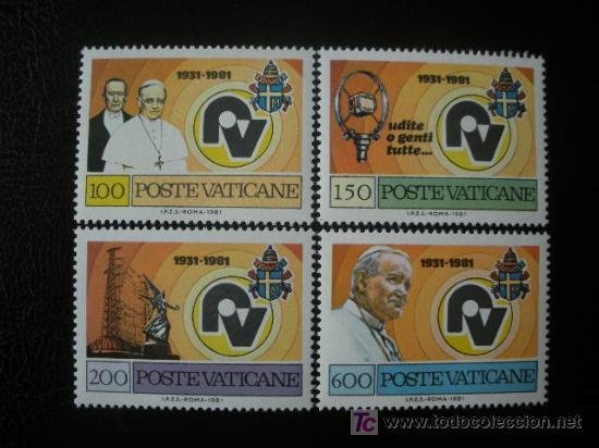 VATICANO 1981 IVERT 702/5 *** 50º ANIVERSARIO DE LA RADIO VATICANA (Sellos - Extranjero - Europa - Vaticano)