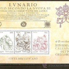 Selos: VATICANO CENTENARIO CALENDARIO GREGORIANO HOJA BLOQUE YVERT NUM. 4 ** NUEVA SIN FIJASELLOS. Lote 264956149