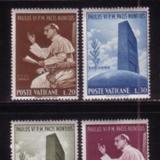 Sellos: VATICANO 434/37*** - AÑO 1965 - VISITA DEL PAPA PABLO VI A NACIONES UNIDAS. Lote 110164722