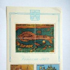 Sellos: POSTE VATICANO 1972 - VENEZIA. HOJA COMPLETA CON TRES SELLOS. Lote 39357910