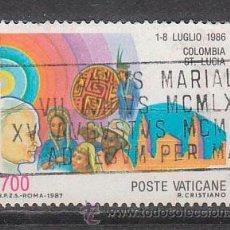 Sellos: VATICANO IVERT 822, VIAJE DEL PAPA JUAN PABLO II A COLOMBIA Y SANTA LUCIA, USADO. Lote 43441026