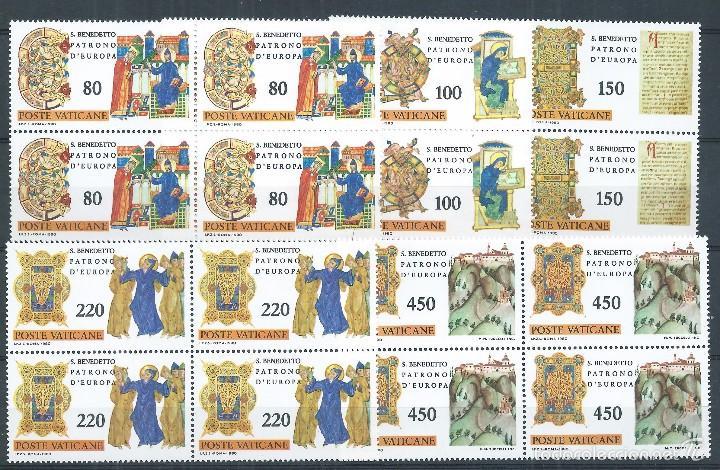 R9/ VATICANO EN NUEVO 1980, CAT. 757/61, IV Cº NACIMIENTO SAN BENITO, PATRON DE EUROPA (Sellos - Extranjero - Europa - Vaticano)