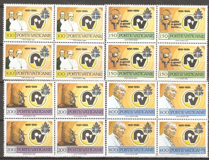 VATICANO 1981 SC 681/4** SIN FIJASELLOS EN BLOQUE DE 4 (Sellos - Extranjero - Europa - Vaticano)