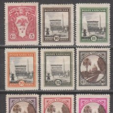Sellos: VATICANO IVERT 44/52, VISTAS DEL VATICANO, NUEVO CON SEÑAL DE CHARNELA, SERIE CORTA. Lote 125270428