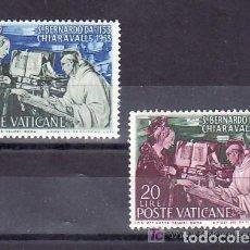 Sellos: VATICANO 1953 IVERT 189/90 * 8º CENTENARIO DE LA MUERTE DE SAN BERNARDO - APARICIÓN DE LA VIRGEN. Lote 70168049