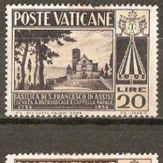 Sellos: VATICANO 1954 IVERT 203/4 *** 2º CENTENARIO DE LA BASILICA DE SAN FRANCISCO DE ASIS. Lote 70170661