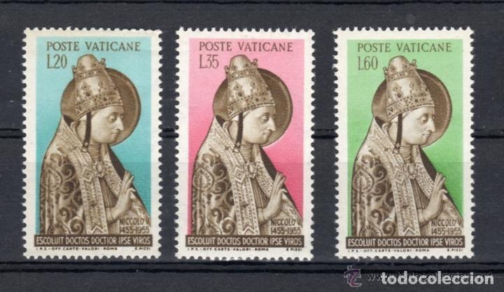 VATICANO 1955 IVERT 215/7 *** 5º CENTENARIO DE LA MUERTE DE NICOLAS V - RELIGIÓN (Sellos - Extranjero - Europa - Vaticano)