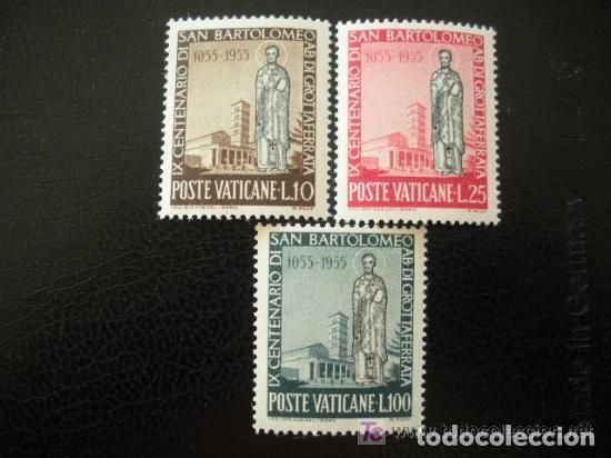VATICANO 1955 IVERT 218/20 * 9º CENTENARIO DE LA MUERTE DE SAN BARTOLOME (Sellos - Extranjero - Europa - Vaticano)