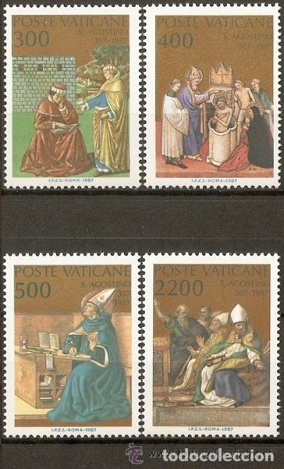 VATICANO 1987 IVERT 802/5 *** 16º CENTENARIO DE LA CONVERSIÓN Y BAUTISMO DE SAN AGUSTIN - RELIGIÓN (Sellos - Extranjero - Europa - Vaticano)