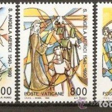 Sellos: VATICANO 1990 IVERT 872/4 *** 450º ANIVERSARIO DE LA MUERTE DE SANTA ANGELA MERICI. Lote 72864951