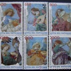 Sellos: VATICANO 1998 IVERT 1108/13 *** ANGELES MÚSICOS - PINTURA DE MELOZZO DE FORLI. Lote 74863995