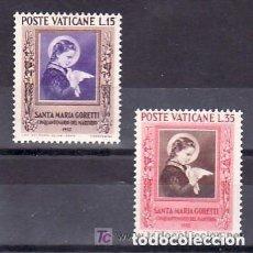 Sellos: VATICANO 1953 IVERT 174/5 * 50º ANIVERSARIO DEL MARTIRIO DE STA. MARIA GORETTI. Lote 93607520