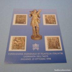 Sellos: VATICANO 1998 HB YVERT Nº118 ** ,EXPOSICIÓN FILATÉLICA INTERNACIONAL EN MILAN , DÍA DEL ARTE. Lote 101327147