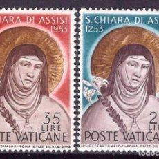 Sellos: VATICANO 1953 IVERT 187/8 *** 7º CENTENARIO DE LA MUERTE DE SANTA CLARA DE ASIS - RELIGIÓN. Lote 188579361