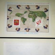 Sellos: VATICANO HOJA RECUERDO ORIGINAL GRANADA 92 ESPAÑA 1992. Lote 125229620