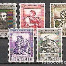 Sellos: VATICANO,1964,CUARTO CENTENARIO DE MIGUEL ÁNGEL,YVERT 405-409 . Lote 151924421