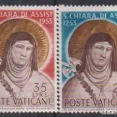 Sellos: VATICANO 1953 IVERT 187/8 *** 7º CENTENARIO DE LA MUERTE DE SANTA CLARA DE ASIS - RELIGIÓN. Lote 159521262