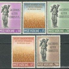 Sellos: VATICANO 1962 IVERT 348/52 *** VOCACIONES SACERDOTALES - EL BUEN PASTOR. Lote 163393954