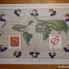 Sellos: HOJITA - EL VATICANO - CITTÁ DEL VATICANO - GRANADA 92 - 1992 . Lote 165136046