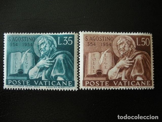 VATICANO 1954 IVERT 205/6 *** 16º CENTENARIO DEL NACIMIENTO DE SAN AGUSTIN (Sellos - Extranjero - Europa - Vaticano)