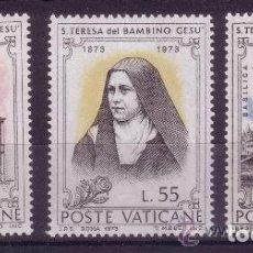 Sellos: VATICANO 1973 - SANTA TERESA DEL NIÑO JESUS - YVERT Nº 555/557**. Lote 179317621