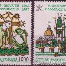 Sellos: VATICANO 1993 - 600 ANIVERSARIO DE SAN JUAN NEPOMUCENO - YVERT Nº 961/962**. Lote 180135530