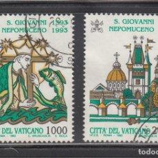 Sellos: VATICANO 1993 - 600 ANIVERSARIO DE SAN JUAN NEPOMUCENO - YVERT Nº 961/962 USADOS. Lote 180135661