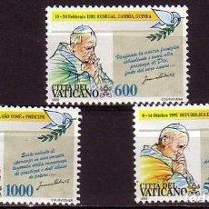 Sellos: VATICANO 1993 - VIAJES DEL PAPA JUAN PABLO II - YVERT Nº 963/965**. Lote 180135765