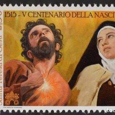 Sellos: VATICANO 2015 - 500 ANIVERSARIO DE SANTA TERESA DE JESUS Y SAN FELIPE NERI - 1 SELLO. Lote 294561138