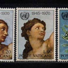 Sellos: VATICANO 510/12** - AÑO 1970 - PINTURA - OBRAS DE MIGUEL ANGEL - 25º ANIVERSARIO DE NACIONES UNIDAS. Lote 190937212