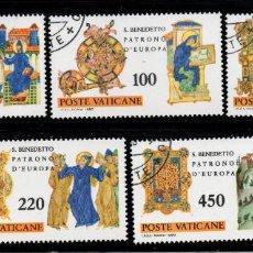Sellos: VATICANO 689/93 - AÑO 1980 - 15º CENTENARIO DEL NACIMIENTO DE SAN BENITO, PATRÓN DE EUROPA. Lote 190938056