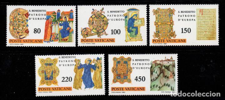 VATICANO 689/93** - AÑO 1980 - 15º CENTENARIO DEL NACIMIENTO DE SAN BENITO, PATRÓN DE EUROPA (Sellos - Extranjero - Europa - Vaticano)