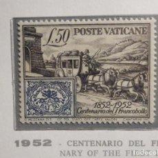 Sellos: POSTE VATICANE IVERT & TELLIER Nº 173 - AÑO 1952 - CENTENARIO FRANCOBOLLO PONTIFICIO - NUEVO. Lote 193974711