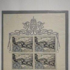 Sellos: POSTE VATICANE IVERT & TELLIER HB BF Nº1 AÑO 1952 - HOJITA CENTENARIO FRANCOBOLLO PONTIFICIO, NUEVO. Lote 193974847